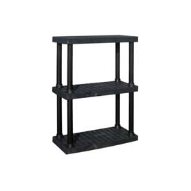 "Structural Plastic Vented Shelving, 36""W x 16""D x 51""H, Black"