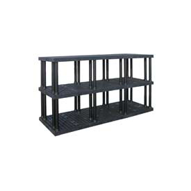 "Structural Plastic Vented Shelving, 96""W x 36""D x 51""H, Black"