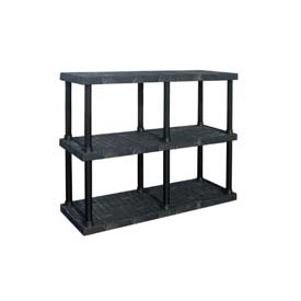 "Structural Plastic Adjustable Vented Shelving, 66""W x 24""D x 45""H, Black"