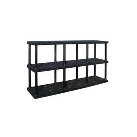 "Structural Plastic Adjustable Vented Shelving, 96""W x 16""D x 45""H, Black"