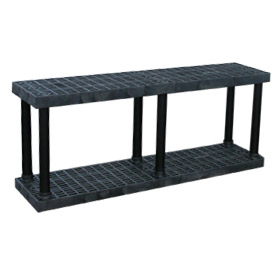 "Structural Plastic Vented Shelving, 66""W x 16""D x 27""H, Black"