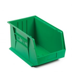 Quantum Plastic Stackable Bin QUS255 11 x 16 x 8 Green - Pkg Qty 4
