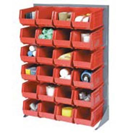 "Singled Sided Louvered Bin Rack 35""W x 15""D x 50""H with 96 of Red Premium Stacking Bins"