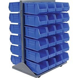 Mobile Double Sided Floor Rack With 48 Blue Stacking Bins 36 x 54