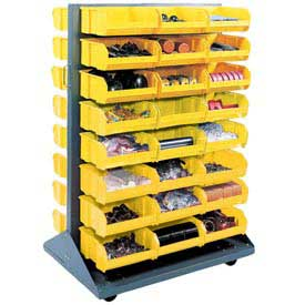 Mobile Double Sided Floor Rack With 24 Yellow Stacking Bins 36 x 54