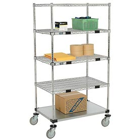 Nexel® Open Sided Wire Exchange Truck 5 Wire 1 Galvanized Shelf 800 Lb Cap