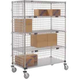 Nexel® Enclosed Wire Exchange Truck 4 Wire 1 Galvanized Shelf 800 Lb Cap