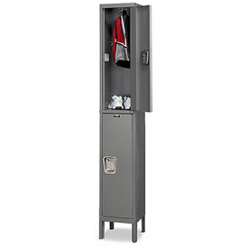 Hallowell UY1888-2 Maintenance-Free Quiet Locker Double Tier 18x18x36 2 Door Ready To Assemble Gray