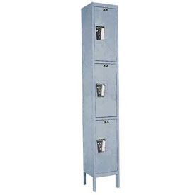 Hallowell UY1288-3 Maintenance-Free Quiet Locker Triple Tier 12x18x24 3 Door Ready To Assemble Gray