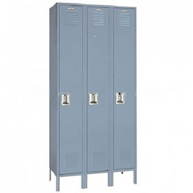 Lyon Locker DD51123SU Single Tier 12x12x72 3-Wide Recessed Handle Assembled Gray