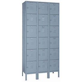Lyon Locker DD53623 Six Tier 12x18x12 3-Wide Hasp Handle Ready To Assemble Gray