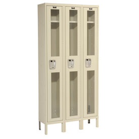 Hallowell USV3258-1PT Safety-View Locker Single Tier 12x15x72 3 Doors Unassembled Parchment