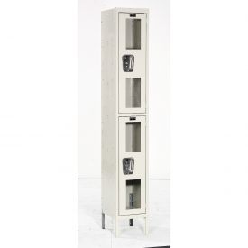 Hallowell USV1288-2PT Safety-View Locker Double Tier 12x18x36 2 Doors Unassembled Parchment