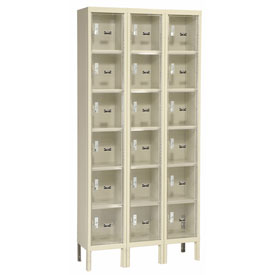 Hallowell USVP3258-6PT Safety-View Locker Six Tier 12x15x12 18 Doors Unassembled Parchment