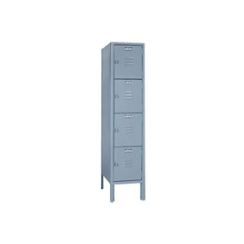 Lyon Locker DD5352SU Four Tier 12x12x12 1-Wide Hasp Handle Assembled Gray