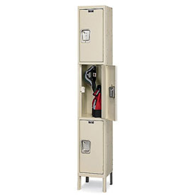 Hallowell UY1228-3A- Maintenance-Free Quiet Locker Triple Tier 12x12x24 3 Doors Assembled Parchment