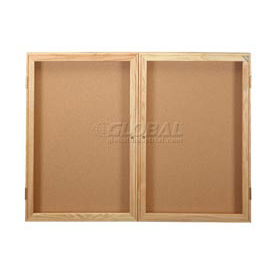 "United Visual Products Bulletin Board Two Door, 48""W x 36""H"