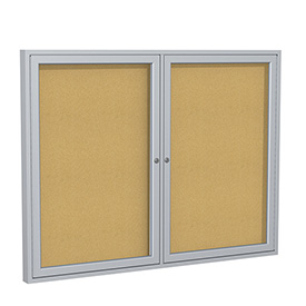 "Ghent® Aluminum Frame Two Door Bulletin Board - 48""W X 36""H"