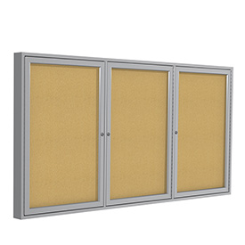 Ghent® Aluminum Frame Three Door Bulletin Board - 4' x 8'