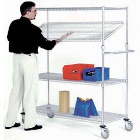 Nexel® E-Z Adjust Wire Shelf Truck 48x24x69 1200 Pound Capacity with Brakes