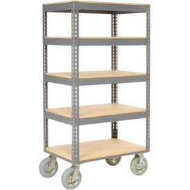 Easy Adjust Boltless 5 Shelf Truck 36 x 24 with Wood Shelves - Pneumatic Casters