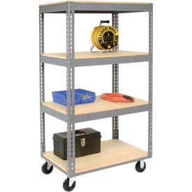 Easy Adjust Boltless 4 Shelf Truck 48 x 24 with Wood Shelves - Polyurethane Casters
