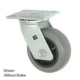 """Faultless Swivel Plate Caster 493-3-1/2RB 3-1/2"""" TPR Wheel with Brake"""