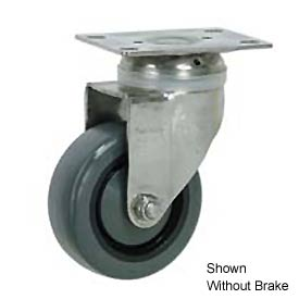 "Faultless Stainless Steel Swivel Plate Caster S896-4TB 4"" Polyurethane Wheel with Brake"