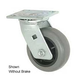 "Faultless Swivel Plate Caster 1491-5RB 5"" TPR Wheel with Brake"