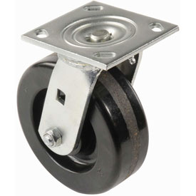 "Heavy Duty Swivel Plate Caster 5"" Plastic Wheel 500 Lb. Capacity"