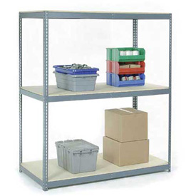 "Wide Span Rack 60""W x 36""D x 84""H With 3 Shelves Wood Deck 1200 Lb Capacity Per Level"