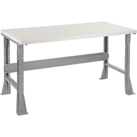 "60""W X 30""D X 34""H Plastic Laminate Square Edge Workbench - Gray"