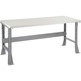 "72""W X 30""D X 34""H Plastic Laminate Square Edge Workbench - Gray"