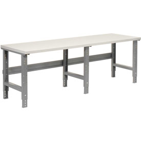 """96""""W X 30""""D Plastic Laminate Square Edge Workbench - Adjustable Height - 1-5/8"""" Top - Gray"""