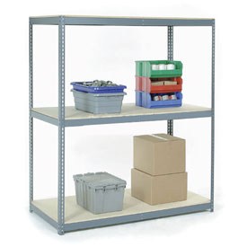 "Wide Span Rack 48""W x 24""D x 60""H With 3 Shelves Wood Deck 1200 Lb Capacity Per Level"
