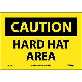 "Safety Signs - Caution Hard Hat Area - Vinyl 7""H X 10""W"