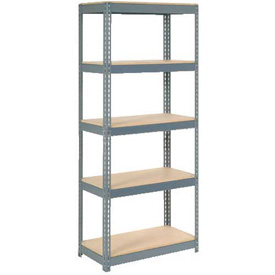 """Extra Heavy Duty Shelving 36""""W x 12""""D x 96""""H With 5 Shelves, Wood Deck"""