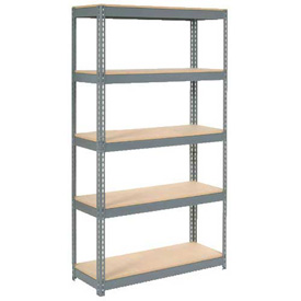 "Extra Heavy Duty Shelving 48""W x 18""D x 84""H With 5 Shelves, Wood Deck"