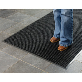 Deep Cleaning Ribbed 6 Foot Wide Cut Length Entrance Mat Charcoal