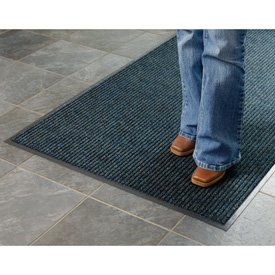 Deep Cleaning Ribbed 6 Foot Wide Roll Entrance Mat Blue