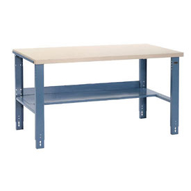 "60""W x 30""D Industrial Workbench, Plastic Laminate Square Edge - Blue"