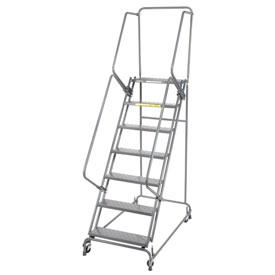 "Perforated 24""W 7 Step Steel Rolling Ladder 14""D Top Step- Lock Style A"