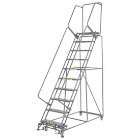 "Perforated 24""W 10 Step Steel Rolling Ladder 14""D Top Step"