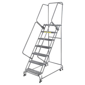 "Grip 24""W 7 Step Steel Rolling Ladder 14""D Top Step- Lock Type A"