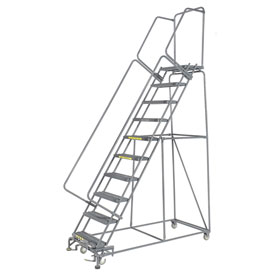 "Grip 24""W 10 Step Steel Rolling Ladder 14""D Top Step"