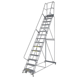 "Grip 24""W 15 Step Steel Rolling Ladder 14""D Top Step"