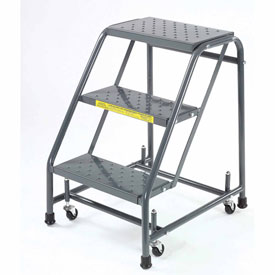 "Perforated 16""W 3 Step Steel Rolling Ladder 20""D Top Step"