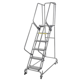 "Perforated 16""W 6 Step Steel Rolling Ladder 21""D Top Step"