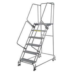 "Perforated 24""W 6 Step Steel Rolling Ladder 21""D Top Step- Lock Type A"
