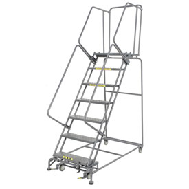 "Perforated 24""W 7 Step Steel Rolling Ladder 21""D Top Step- Lock Type B"